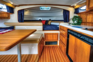 The roomy cabin includes all the amenities for extended fishing trips and family outings.